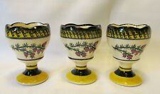 HB Henriot Quimper France 3 Vintage Single Egg Cups Yellow Black Sponge Trim