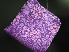 "US Seller New 10"" 100% Silk Pocket Square Purple/Red  Paisley"
