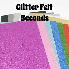GLITTER FELT x2 sheets - SECONDS / IMPERFECT - 23cm x 30cm sheets, 1mm thick