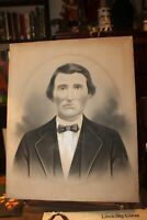 Antique 16x20 Crayon Portrait Photo 1880's Young Man Paper on Canvas