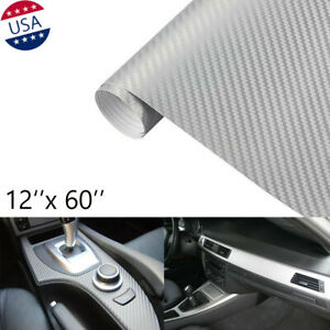 "12''x60"" Silver 3D Carbon Fiber Vinyl Car DIY Wrap Sheet Roll Film Sticker Decal"
