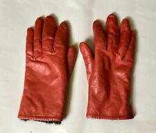 Vintage Red Leather Gloves Rabbit Fur Lined Italian Style Women's Medium