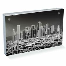"Photo Block 6 x 4""  - BW - 3D Holographic City Urban  #38346"