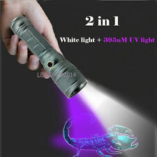 2 in 1 Dual LEDs White Light T6 Zoomable Rechargeable UV Black Light Flashlight