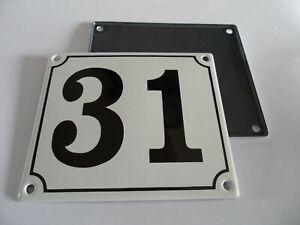 Old German White Enamel Porcelain Metal House Door Number Street Sign / Plate 31