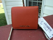 Authentic Michael Kors Mercer Carryall Card Case Wallet Orange Pebbled Leather