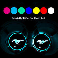 2PCS LED Car Cup Holder Pad Mat for Ford Mustang Auto Interior Atmosphere Lights