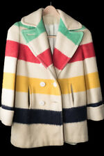 Vintage   HUDSON BAY COAT - 4 Point Wool Blanket Coat - Women's Small