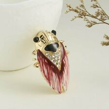 Vintage Crystal Cicada Animal Brooch Pin Enamel Wedding Costume Jewelry Gifts