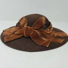 Vintage 1940s Frost Brothers Women's Cartwheel Small Brim Felt Hat With Ribbon