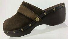 Crocs Cobbler Studded Clogs Black Suede Casual Slides Comfort Mules Womens US 9