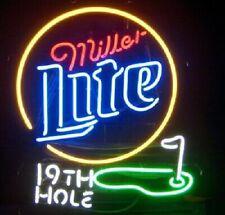 "Miller Lite Beer The 19th Hole Golf Neon Light Lamp Sign 24""x20"" Beer Bar Decor"