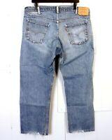 vtg 70s Levis 505 Number 8 Button Denim Jeans USA 20505-0217 orange tab 40 X 27