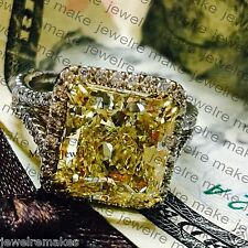Certified Radiant Cut Yellow Diamond Engagement Wedding 14K White Gold Ring