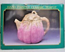 Hand painted ceramic teapot Eggplant