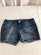Juniors SO Cut Off Jean Short Shorts Sz 11 Cotton Blend Mid Rise