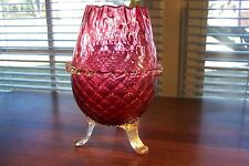 Murano Italian Glass Gold Flaked Tri Footed Vase Quilted Cranberry Blown Glass