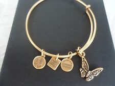 Alex and Ani BUTTERFLY Russian Gold Charm Bangle New W/Tag Card & Box