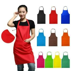 Women Plain Aprons + Front Pocket For Chefs Butcher Kitchen Cooking Craft Baking