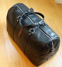 New DAVIDOFF  fine italian leather Boston Black Duffle Bag for Travel  Italy