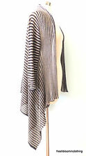 M Missoni 42 6 Knit Open Cardigan Sweater Black Metallic Gold Stripe Lagenlook