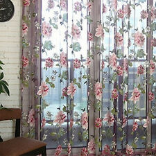 Floral Tulle Voile Curtains For Door Windows Drapes Panel Sheer Scarf Valances