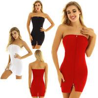 Damen Unterkleid Unterrock Trägerlos Etuikleid enges Kleid transparent Minikleid
