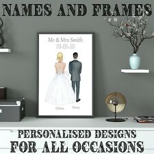 Personalised Mr And Mrs Wedding Print Illustration Wedding Gift Bride Groom A4