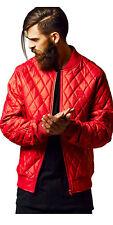 urban Classics Herren Lederjacke Diamond Quilt Leather Imitation L rot - 196979