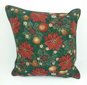 Poinsettia Christmas Tapestry Pillow Throw Red Green Two Sided Home Holiday