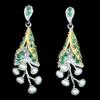Unheated Round Cut Green Emerald 2mm White Pearl 925 Sterling Silver Earrings