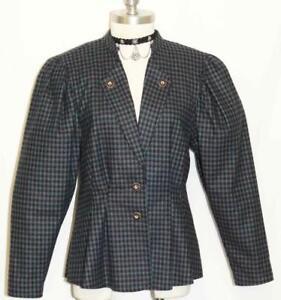BLACK & GREEN ~ WOOL Plaid Women German PLEATED Fitted Dress Suit Jacket 2 XS