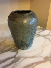 Studio Pottery Vase Signed Blue Glaze
