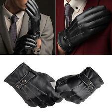 Autum Winter Classic Leather Black Gloves Lambskin Mittens Driving Full Finger