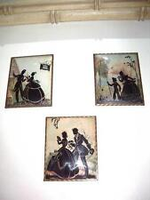 SILHOUETTE Reverse Painted ASSORTMENT Wall Art Pictures Vintage ANTIQUE TRIO