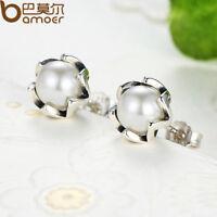 Bamoer S925 Sterling pearl silver stud earrings Elegance with Pearl For Women
