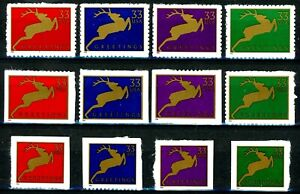 Holiday Reindeer Complete Set of 12 MNH Scott's 3356 to 3367