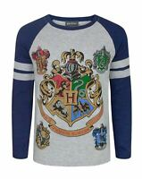 Harry Potter Hogwarts Houses Crest Boy's Raglan Long Sleeve Grey T-Shirt
