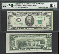 $20 1985 END OF ROLL ERROR=MISTAKE=EXCITING GREEN LINE=PMG GEM UNC 65 EPQ