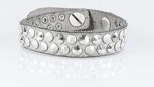 b.belt Bracelet Cuirarmband Nietenarmband Hellgrau