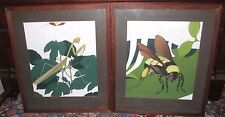 Vintage Pair Of Naturalist Modern Paintings Of Worker Bee & Praying Mantis