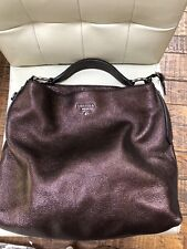Prada Large Metallic Daino Bronze Brown Vitello Hobo Bag