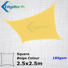 Heavy Duty Square Shade Sail Outdoor Sun Cloth Canopy Awning Sand Beige 2.5x2.5m