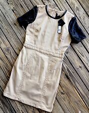 $398 Marc Jacobs Dempsey Drill Toasted Pecan Lamb Leather Sleeve Dress sz 8