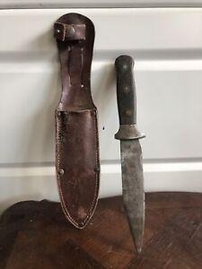 Ancien Couteau De Chasse Pochette Cuir