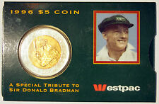 1996 - $5 Coin - Sir Donald Bradman Tribute - in Westpac Bank sleeve - Australia