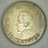 1924 H Ecuador Copper Nickel 10 Centavos Coin Uncirculated