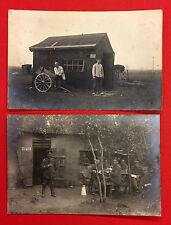 2 X militar foto ak 1. WK 1918 barbero lavandería y escritura Tube (9947