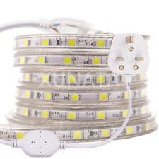 LED Strip 220V 240V 5050 SMD IP67 Waterproof tape Lights Rope White Blue UK plug