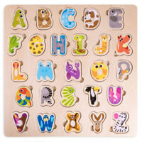"""Animal Alphabet Puzzle Board  Children's 11"""" x 11"""" Educational Wooden Puzzle Toy"""